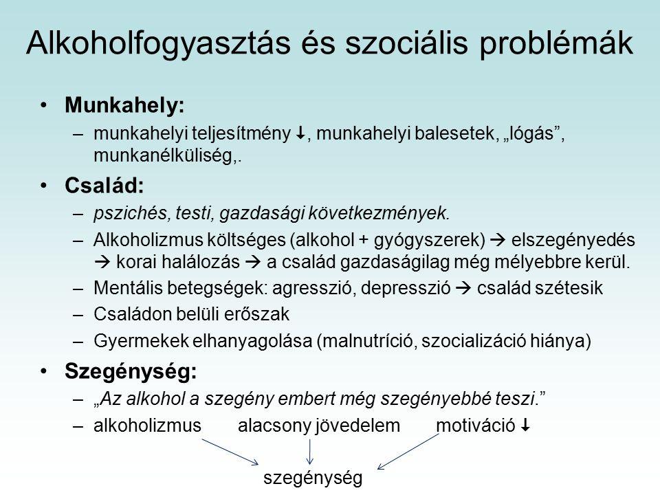"""Alkoholfogyasztás és szociális problémák Munkahely: –munkahelyi teljesítmény , munkahelyi balesetek, """"lógás , munkanélküliség,."""