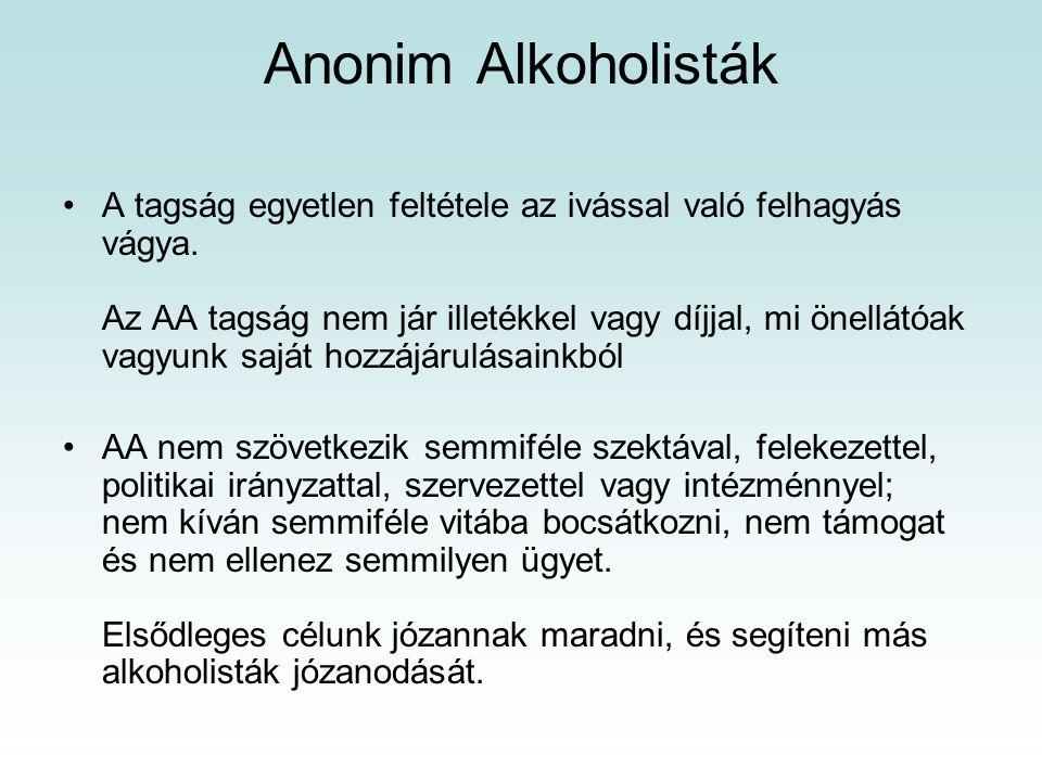 Anonim Alkoholisták A tagság egyetlen feltétele az ivással való felhagyás vágya.