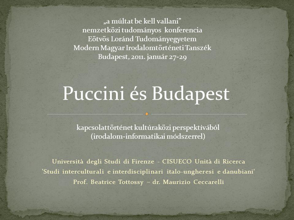 A Trittico előadáshoz kapcsolódó levelezések, és szerződések elemzése alapján és Puccini levelezéseinek tanulmányozásával együtt, megerősítést nyert egy nem megvalósult utazást Budapestre Habár Puccini (Schnabl-nak írt levél, 1922.