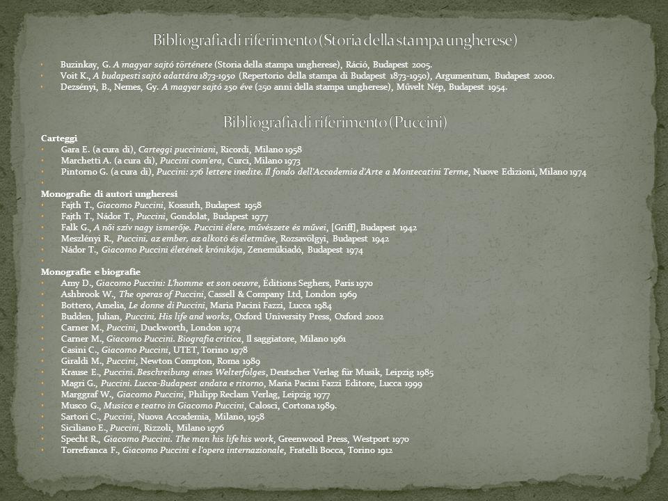 Buzinkay, G. A magyar sajtó története (Storia della stampa ungherese), Ráció, Budapest 2005. Voit K., A budapesti sajtó adattára 1873-1950 (Repertorio
