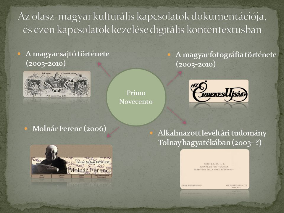 A magyar sajtó története (2003-2010) Molnár Ferenc (2006) A magyar fotográfia története (2003-2010) Alkalmazott levéltári tudomány Tolnay hagyatékában (2003- ) Primo Novecento
