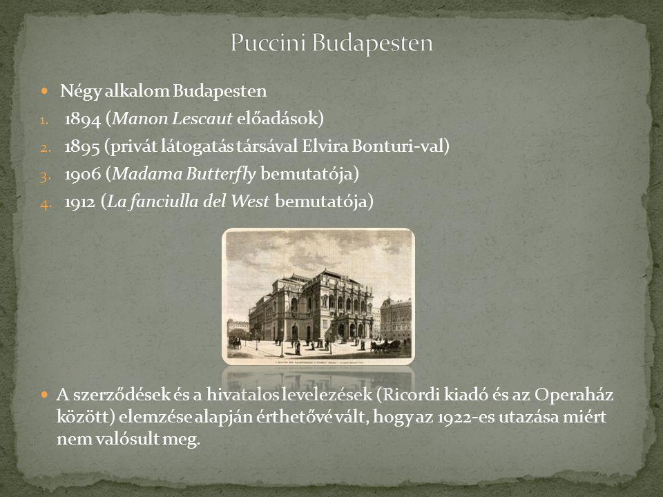 Négy alkalom Budapesten 1. 1894 (Manon Lescaut előadások) 2. 1895 (privát látogatás társával Elvira Bonturi-val) 3. 1906 (Madama Butterfly bemutatója)