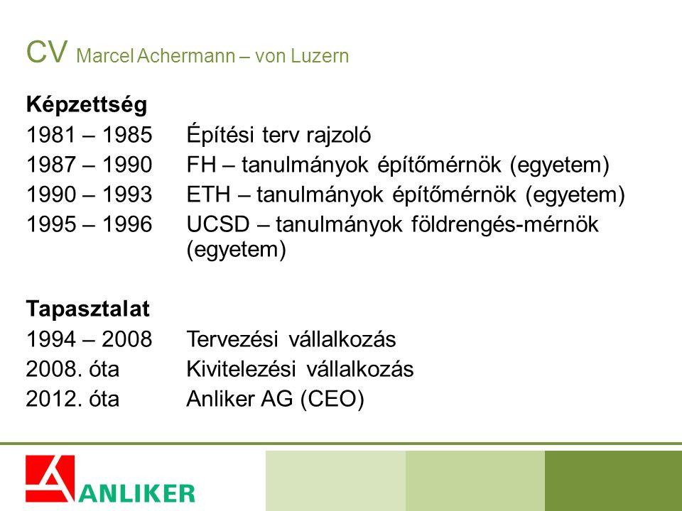 CV Marcel Achermann – von Luzern Képzettség 1981 – 1985Építési terv rajzoló 1987 – 1990FH – tanulmányok építőmérnök (egyetem) 1990 – 1993ETH – tanulmá