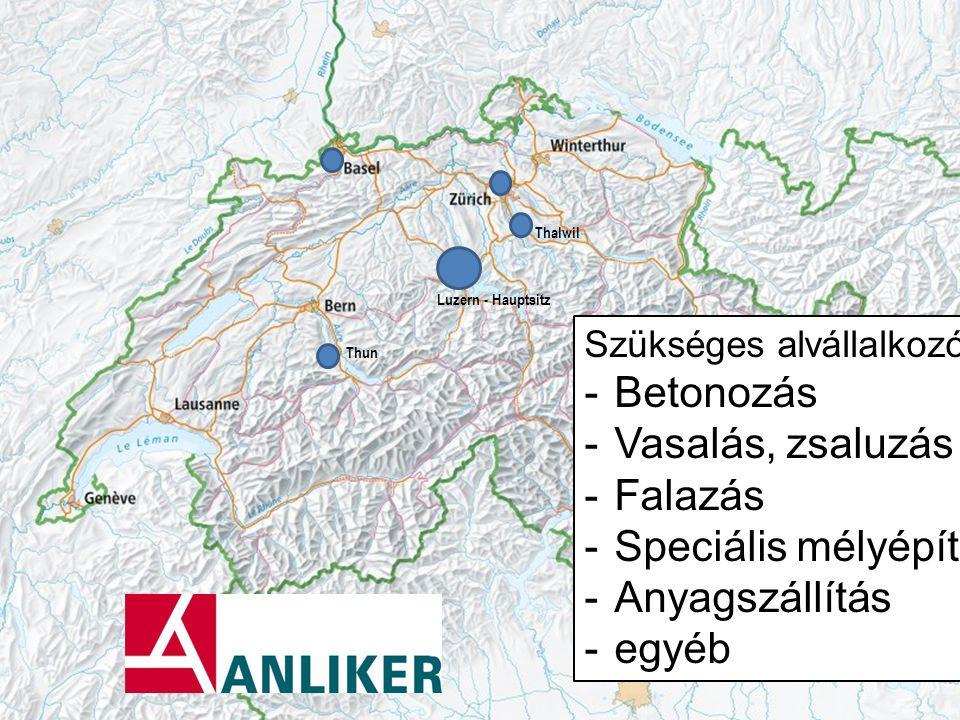 Luzern - Hauptsitz Thalwil Thun Szükséges alvállalkozók: -Betonozás -Vasalás, zsaluzás -Falazás -Speciális mélyépítés -Anyagszállítás -egyéb