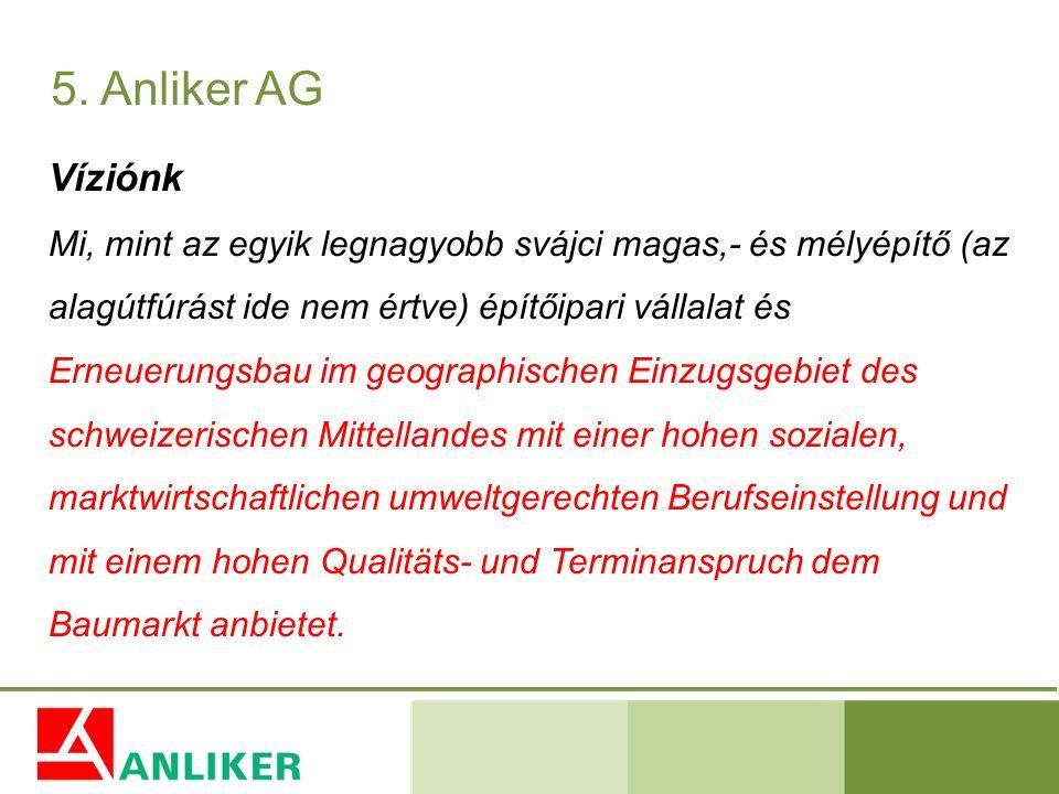 Víziónk Mi, mint az egyik legnagyobb svájci magas,- és mélyépítő (az alagútfúrást ide nem értve) építőipari vállalat és Erneuerungsbau im geographisch