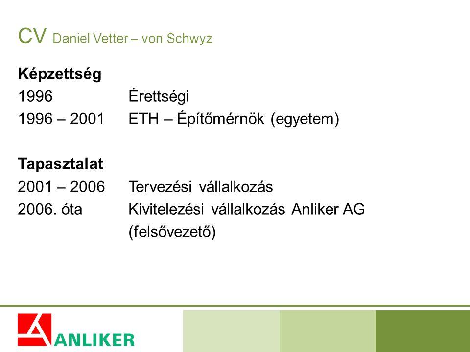 CV Daniel Vetter – von Schwyz Képzettség 1996Érettségi 1996 – 2001ETH – Építőmérnök (egyetem) Tapasztalat 2001 – 2006Tervezési vállalkozás 2006. ótaKi