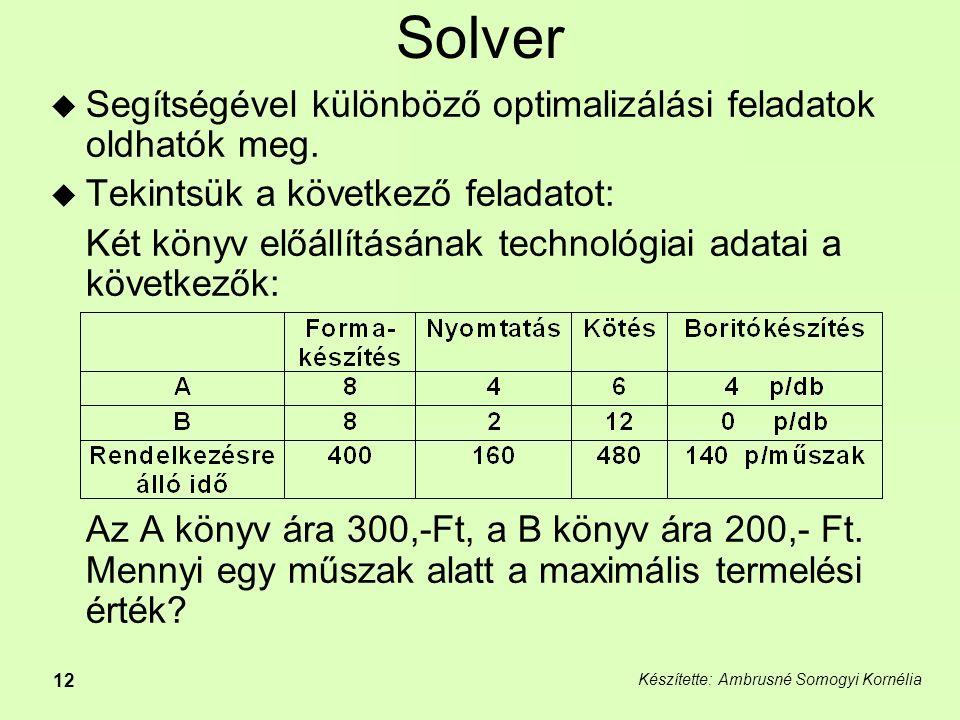 Készítette: Ambrusné Somogyi Kornélia 12 Solver  Segítségével különböző optimalizálási feladatok oldhatók meg.
