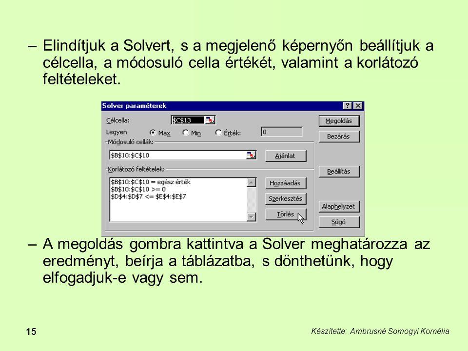 Készítette: Ambrusné Somogyi Kornélia 15 –Elindítjuk a Solvert, s a megjelenő képernyőn beállítjuk a célcella, a módosuló cella értékét, valamint a korlátozó feltételeket.