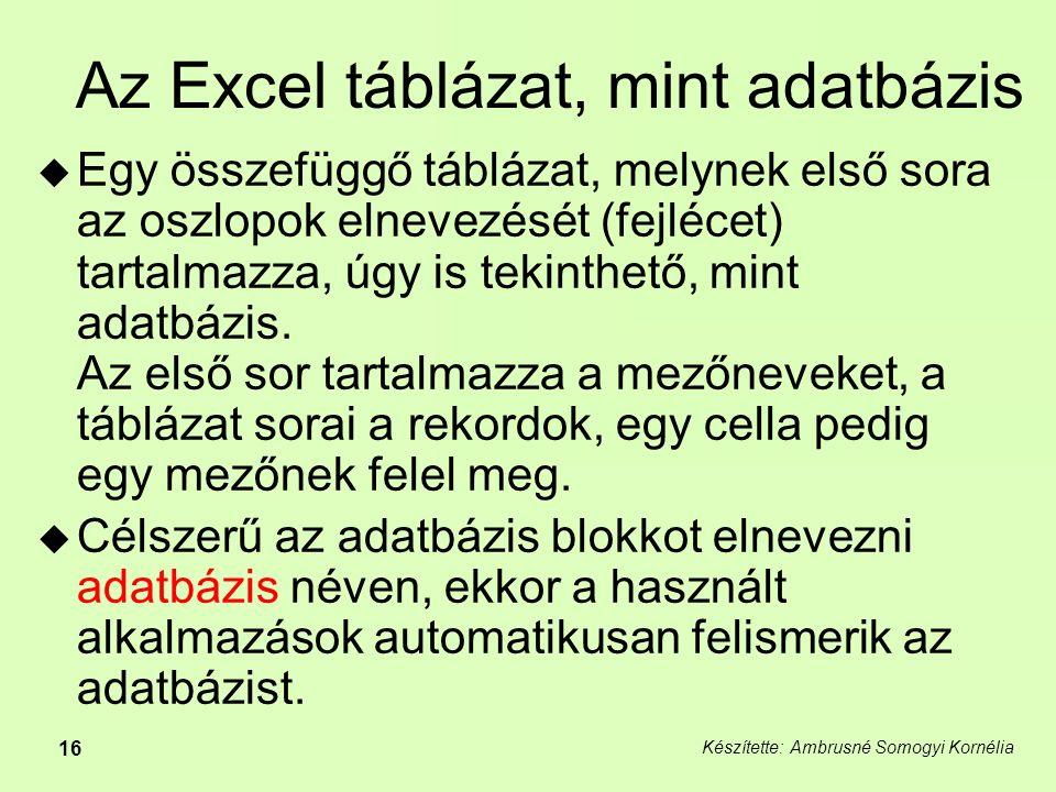 Készítette: Ambrusné Somogyi Kornélia 16 Az Excel táblázat, mint adatbázis  Egy összefüggő táblázat, melynek első sora az oszlopok elnevezését (fejlécet) tartalmazza, úgy is tekinthető, mint adatbázis.