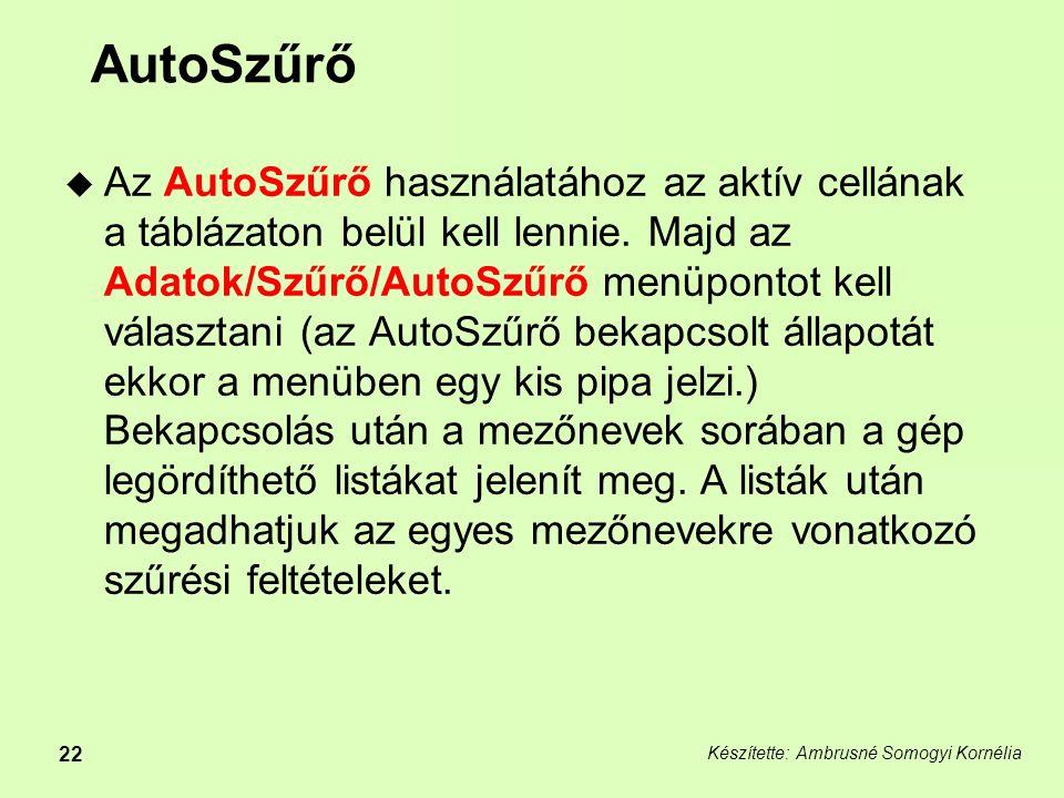 Készítette: Ambrusné Somogyi Kornélia 22 AutoSzűrő  Az AutoSzűrő használatához az aktív cellának a táblázaton belül kell lennie.