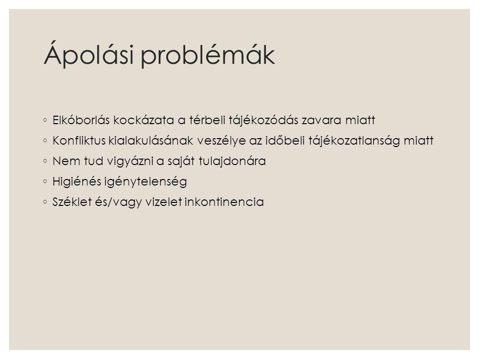 Ápolási problémák ◦ Elkóborlás kockázata a térbeli tájékozódás zavara miatt ◦ Konfliktus kialakulásának veszélye az időbeli tájékozatlanság miatt ◦ Ne