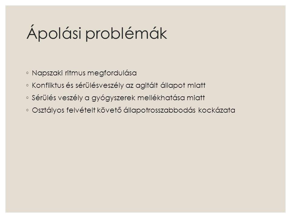 Ápolási problémák ◦ Napszaki ritmus megfordulása ◦ Konfliktus és sérülésveszély az agitált állapot miatt ◦ Sérülés veszély a gyógyszerek mellékhatása