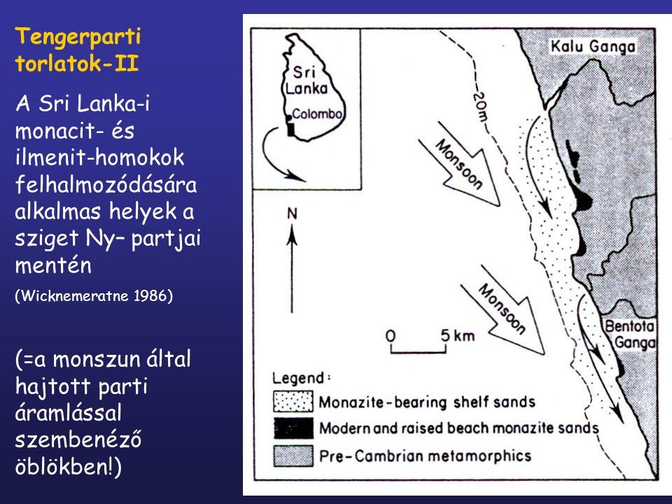 Tengerparti torlatok-II A Sri Lanka-i monacit- és ilmenit-homokok felhalmozódására alkalmas helyek a sziget Ny– partjai mentén (Wicknemeratne 1986) (=