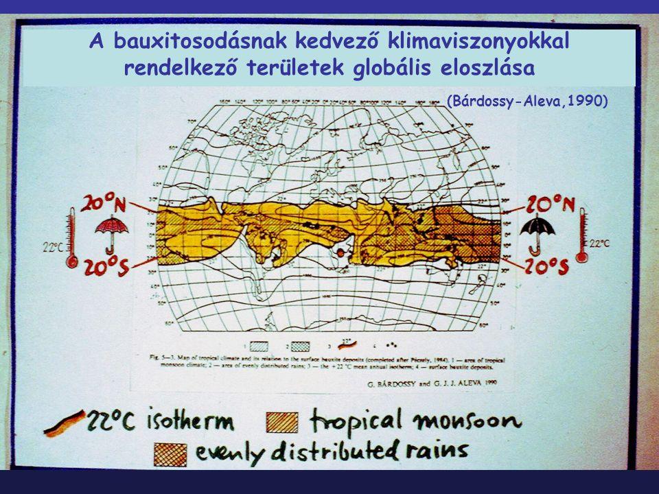 A bauxitosodásnak kedvező klimaviszonyokkal rendelkező területek globális eloszlása (Bárdossy-Aleva,1990)
