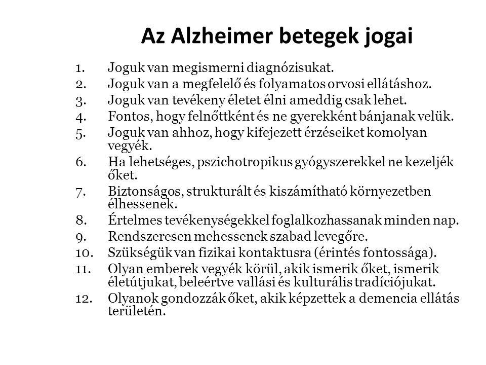Az Alzheimer betegek jogai 1.Joguk van megismerni diagnózisukat. 2.Joguk van a megfelelő és folyamatos orvosi ellátáshoz. 3.Joguk van tevékeny életet