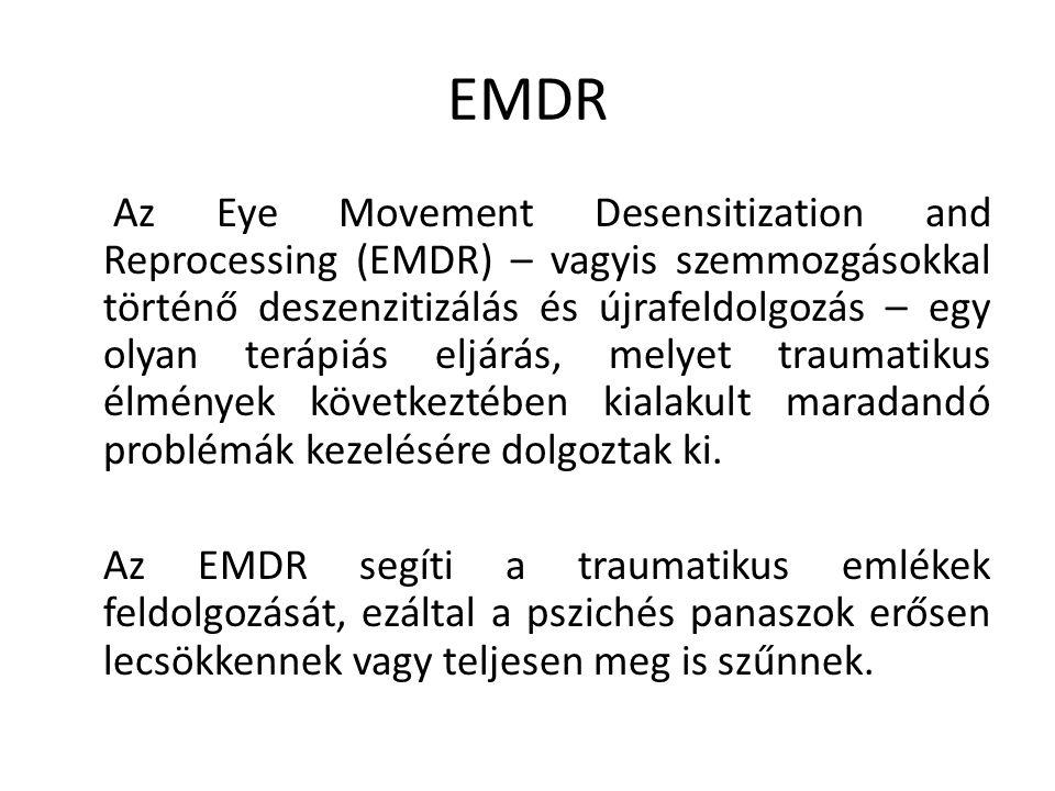 EMDR Az Eye Movement Desensitization and Reprocessing (EMDR) – vagyis szemmozgásokkal történő deszenzitizálás és újrafeldolgozás – egy olyan terápiás eljárás, melyet traumatikus élmények következtében kialakult maradandó problémák kezelésére dolgoztak ki.