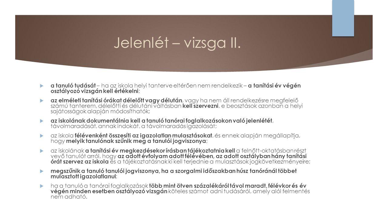 Jelenlét – vizsga II.