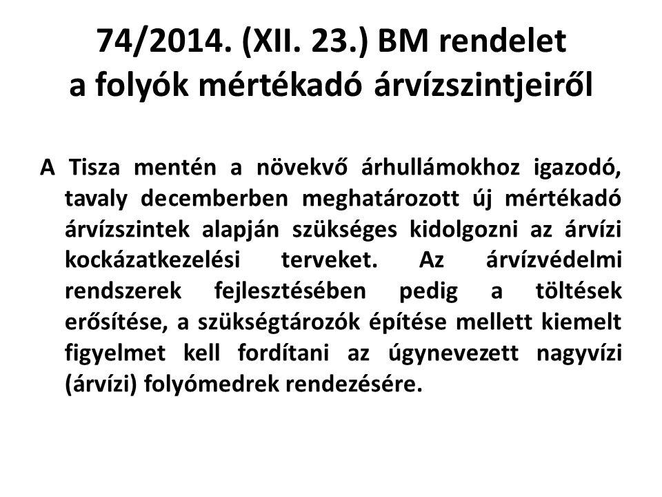 74/2014. (XII. 23.) BM rendelet a folyók mértékadó árvízszintjeiről A Tisza mentén a növekvő árhullámokhoz igazodó, tavaly decemberben meghatározott ú