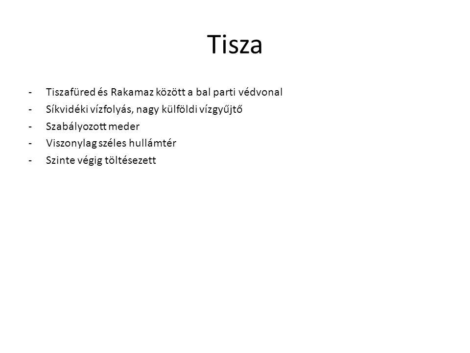 Tisza -Tiszafüred és Rakamaz között a bal parti védvonal -Síkvidéki vízfolyás, nagy külföldi vízgyűjtő -Szabályozott meder -Viszonylag széles hullámté