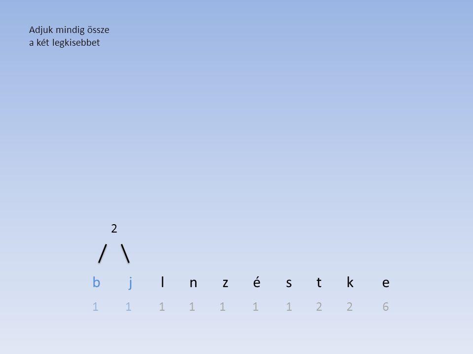 b j l n z é s t k e 1 1 1 1 1 1 1 2 2 6 Adjuk mindig össze a két legkisebbet 2