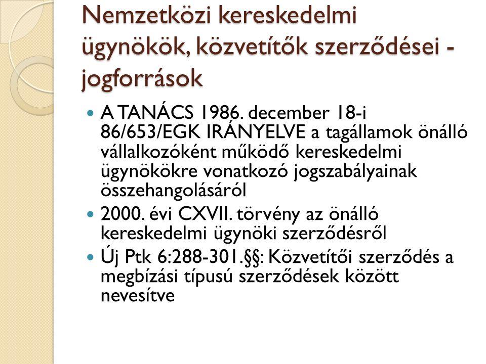 Nemzetközi kereskedelmi ügynökök, közvetítők szerződései - jogforrások A TANÁCS 1986. december 18-i 86/653/EGK IRÁNYELVE a tagállamok önálló vállalkoz