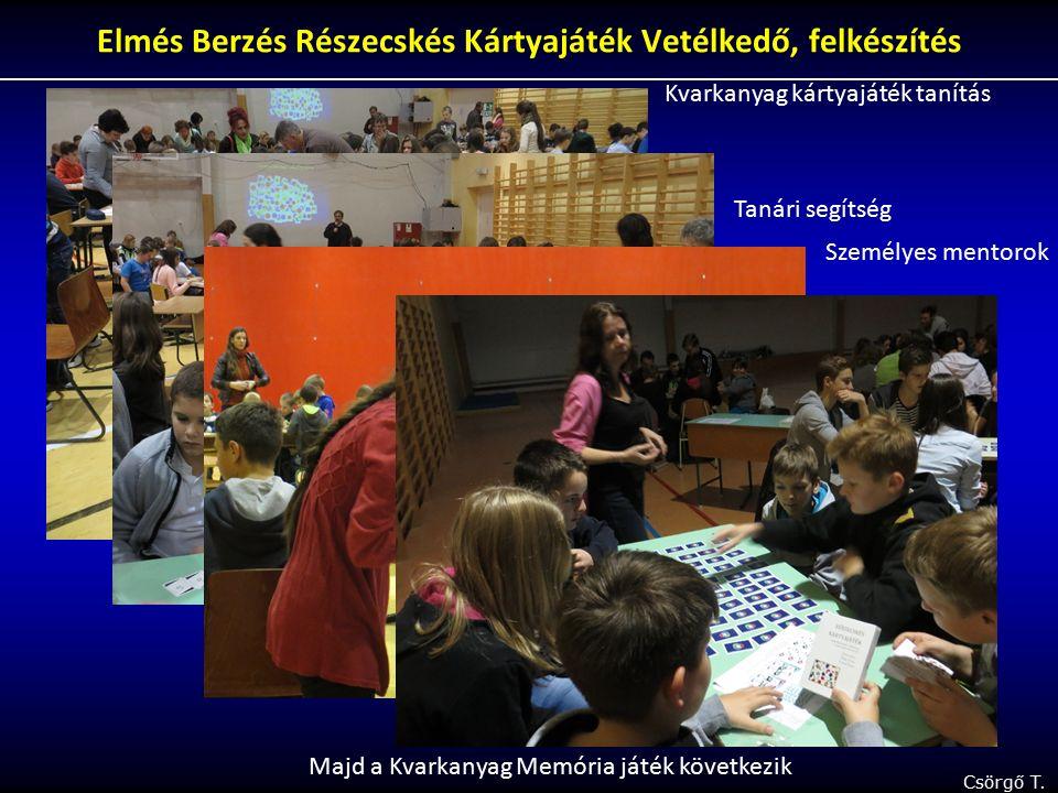 Csörgő T. Elmés Berzés Részecskés Kártyajáték Vetélkedő, felkészítés Kvarkanyag kártyajáték tanítás Tanári segítség Személyes mentorok Majd a Kvarkany