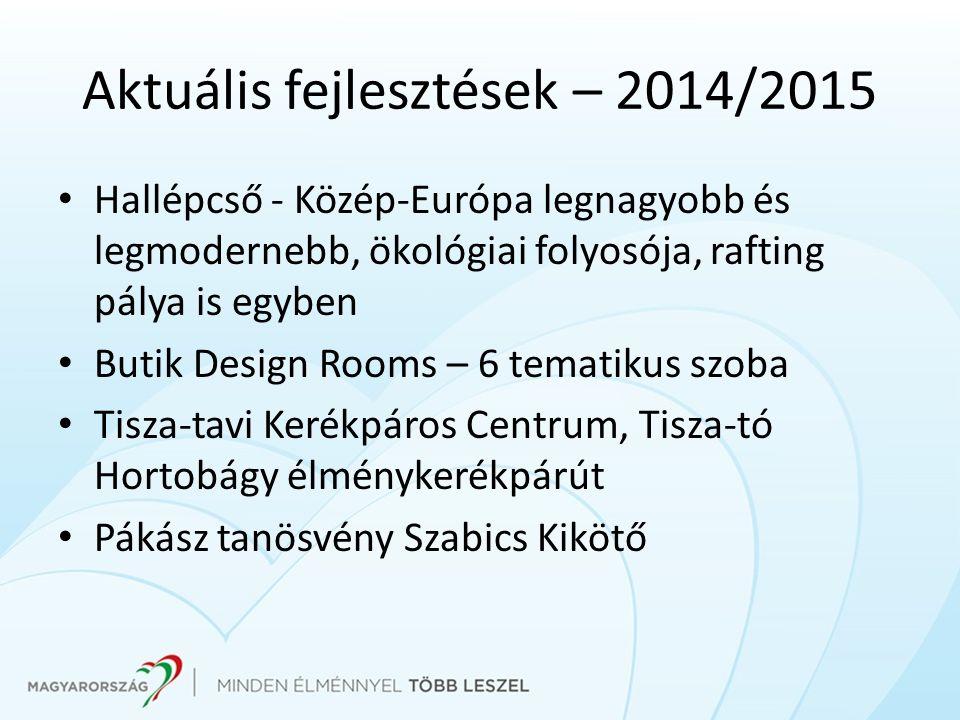 Aktuális fejlesztések – 2014/2015 Hallépcső - Közép-Európa legnagyobb és legmodernebb, ökológiai folyosója, rafting pálya is egyben Butik Design Rooms