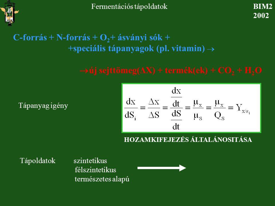 BIM2 2002 Fermentációs tápoldatok C-forrás + N-forrás + O 2 + ásványi sók + +speciális tápanyagok (pl. vitamin)   új sejttömeg(ΔX) + termék(ek) + CO