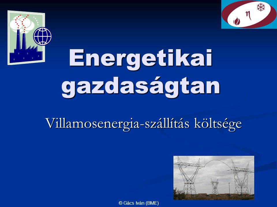 © Gács Iván (BME) Energetikai gazdaságtan Villamosenergia-szállítás költsége