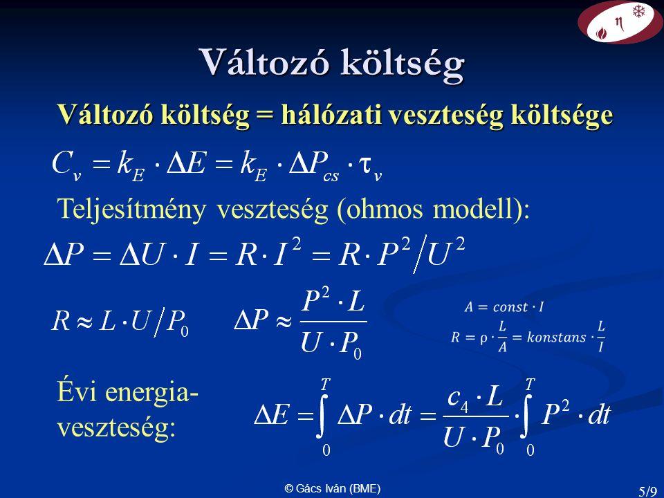 © Gács Iván (BME) Változó költség Változó költség = hálózati veszteség költsége Teljesítmény veszteség (ohmos modell): Évi energia- veszteség: 5/9