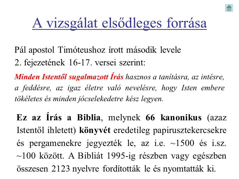 A vizsgálat elsődleges forrása Pál apostol Timóteushoz írott második levele 2. fejezetének 16-17. versei szerint: Minden Istentől sugalmazott Írás has