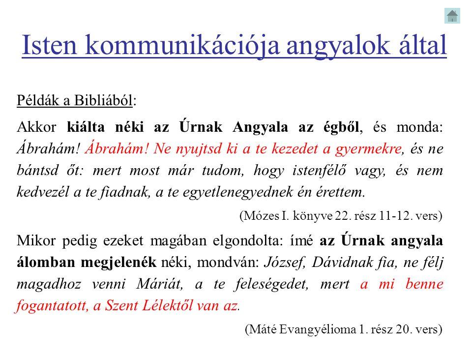Isten kommunikációja angyalok által Példák a Bibliából: Akkor kiálta néki az Úrnak Angyala az égből, és monda: Ábrahám! Ábrahám! Ne nyujtsd ki a te ke