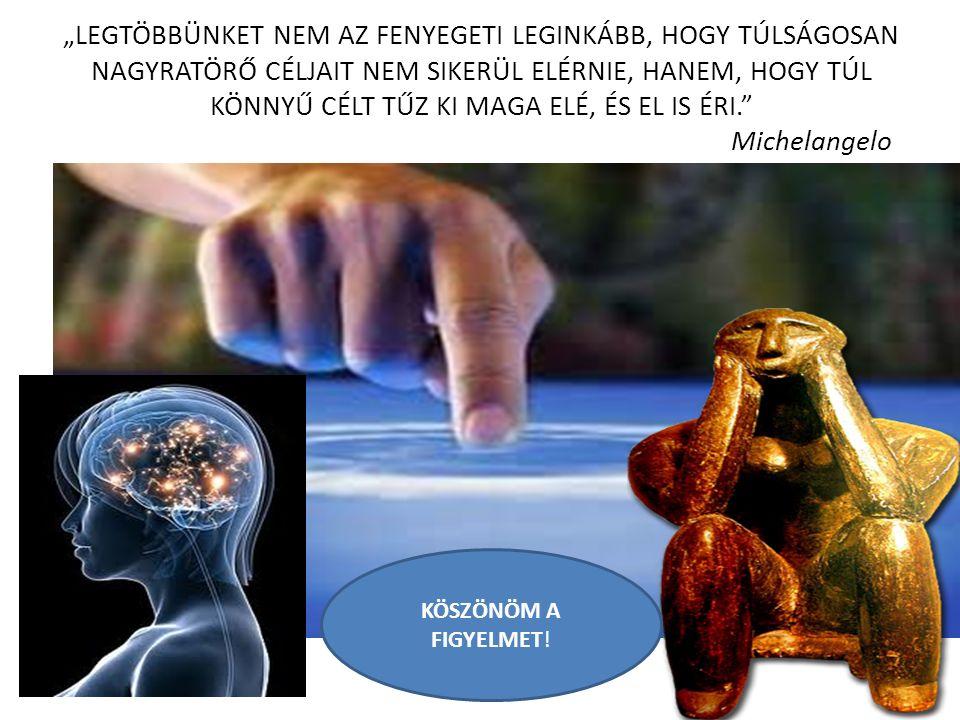 """""""LEGTÖBBÜNKET NEM AZ FENYEGETI LEGINKÁBB, HOGY TÚLSÁGOSAN NAGYRATÖRŐ CÉLJAIT NEM SIKERÜL ELÉRNIE, HANEM, HOGY TÚL KÖNNYŰ CÉLT TŰZ KI MAGA ELÉ, ÉS EL IS ÉRI. Michelangelo KÖSZÖNÖM A FIGYELMET!"""