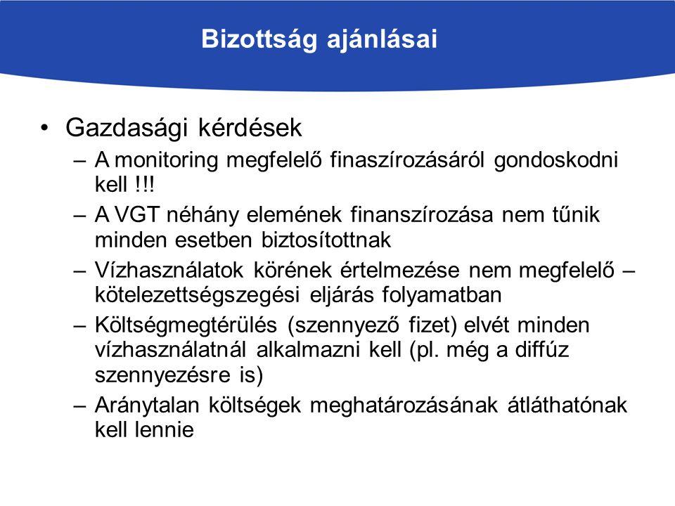 Bizottság ajánlásai Gazdasági kérdések –A monitoring megfelelő finaszírozásáról gondoskodni kell !!.