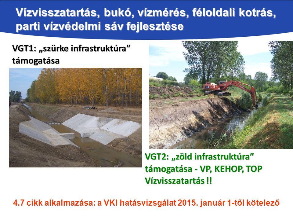 """Vízvisszatartás, bukó, vízmérés, féloldali kotrás, parti vízvédelmi sáv fejlesztése VGT1: """"szürke infrastruktúra támogatása VGT2: """"zöld infrastruktúra támogatása - VP, KEHOP, TOP Vízvisszatartás !."""