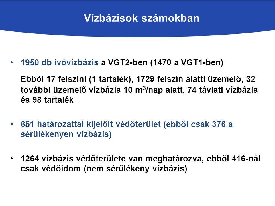 Vízbázisok számokban 1950 db ivóvízbázis a VGT2-ben (1470 a VGT1-ben) Ebből 17 felszíni (1 tartalék), 1729 felszín alatti üzemelő, 32 további üzemelő vízbázis 10 m 3 /nap alatt, 74 távlati vízbázis és 98 tartalék 651 határozattal kijelölt védőterület (ebből csak 376 a sérülékenyen vízbázis) 1264 vízbázis védőterülete van meghatározva, ebből 416-nál csak védőidom (nem sérülékeny vízbázis)