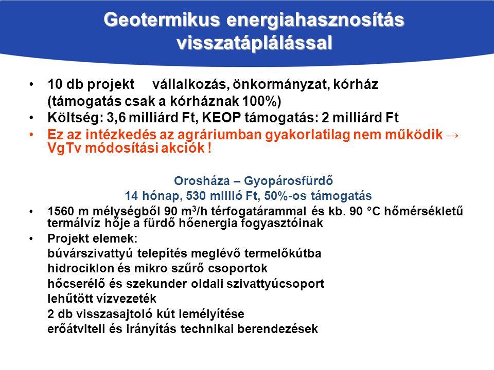 Geotermikus energiahasznosítás visszatáplálással 10 db projekt vállalkozás, önkormányzat, kórház (támogatás csak a kórháznak 100%) Költség: 3,6 milliárd Ft, KEOP támogatás: 2 milliárd Ft Ez az intézkedés az agráriumban gyakorlatilag nem működik → VgTv módosítási akciók .