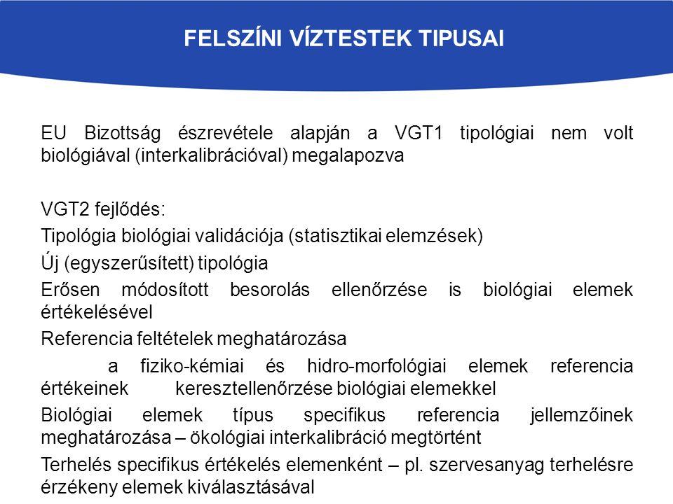 FELSZÍNI VÍZTESTEK TIPUSAI EU Bizottság észrevétele alapján a VGT1 tipológiai nem volt biológiával (interkalibrációval) megalapozva VGT2 fejlődés: Tipológia biológiai validációja (statisztikai elemzések) Új (egyszerűsített) tipológia Erősen módosított besorolás ellenőrzése is biológiai elemek értékelésével Referencia feltételek meghatározása a fiziko-kémiai és hidro-morfológiai elemek referencia értékeinek keresztellenőrzése biológiai elemekkel Biológiai elemek típus specifikus referencia jellemzőinek meghatározása – ökológiai interkalibráció megtörtént Terhelés specifikus értékelés elemenként – pl.