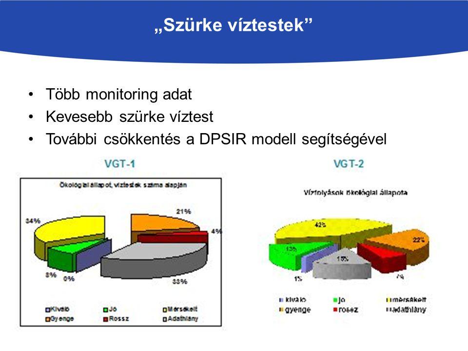 """""""Szürke víztestek Több monitoring adat Kevesebb szürke víztest További csökkentés a DPSIR modell segítségével"""
