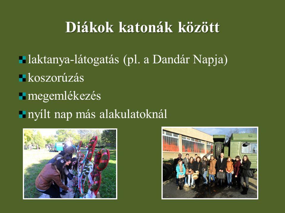 Diákok katonák között laktanya-látogatás (pl. a Dandár Napja) koszorúzás megemlékezés nyílt nap más alakulatoknál