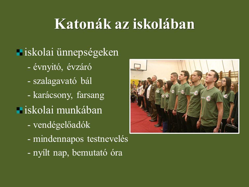 Katonák az iskolában iskolai ünnepségeken - évnyitó, évzáró - szalagavató bál - karácsony, farsang iskolai munkában - vendégelőadók - mindennapos test