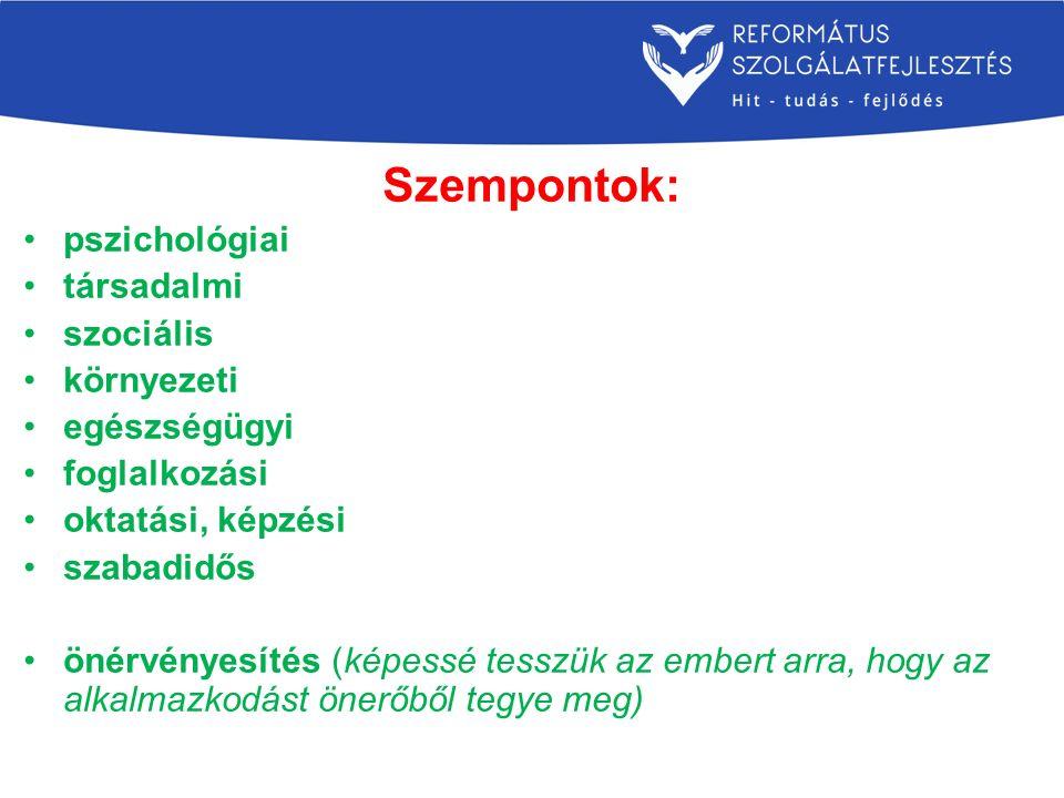 Szempontok: pszichológiai társadalmi szociális környezeti egészségügyi foglalkozási oktatási, képzési szabadidős önérvényesítés (képessé tesszük az embert arra, hogy az alkalmazkodást önerőből tegye meg)