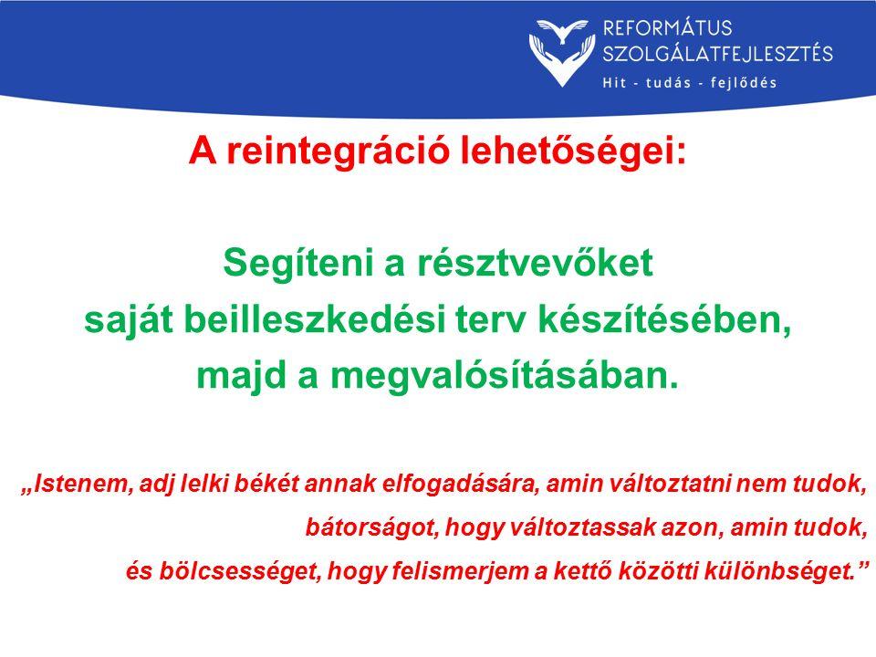 A reintegráció lehetőségei: Segíteni a résztvevőket saját beilleszkedési terv készítésében, majd a megvalósításában.