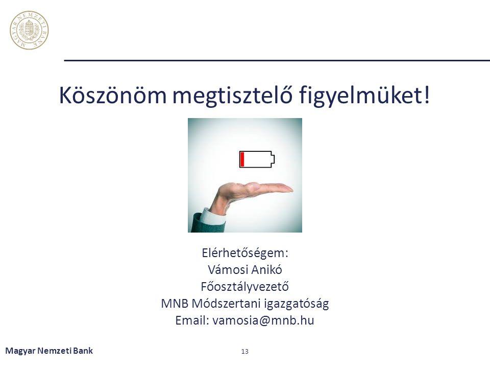 Elérhetőségem: Vámosi Anikó Főosztályvezető MNB Módszertani igazgatóság Email: vamosia@mnb.hu Magyar Nemzeti Bank 13 Köszönöm megtisztelő figyelmüket!