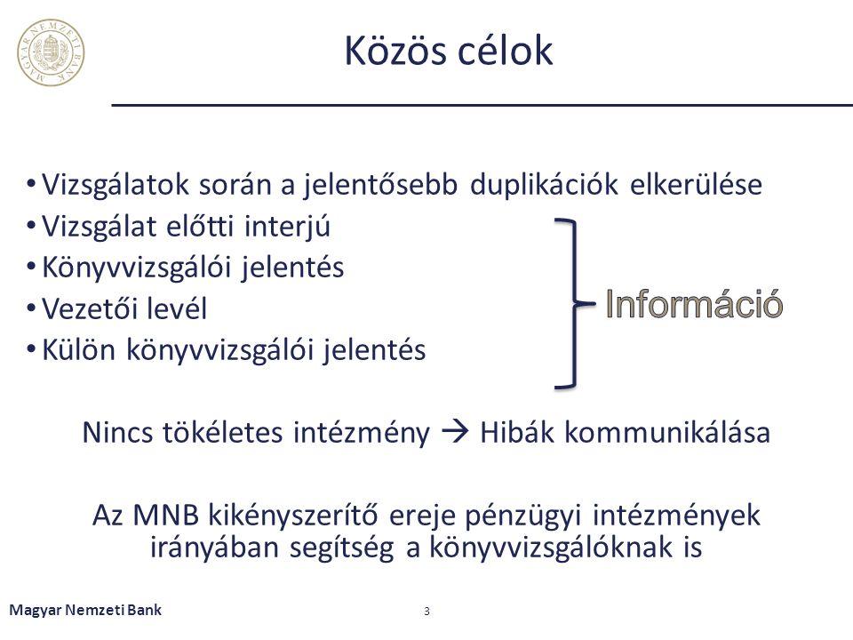Közös célok Vizsgálatok során a jelentősebb duplikációk elkerülése Vizsgálat előtti interjú Könyvvizsgálói jelentés Vezetői levél Külön könyvvizsgálói jelentés Nincs tökéletes intézmény  Hibák kommunikálása Az MNB kikényszerítő ereje pénzügyi intézmények irányában segítség a könyvvizsgálóknak is Magyar Nemzeti Bank 3