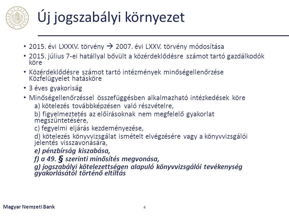Új jogszabályi környezet 2015. évi LXXXV. törvény  2007.