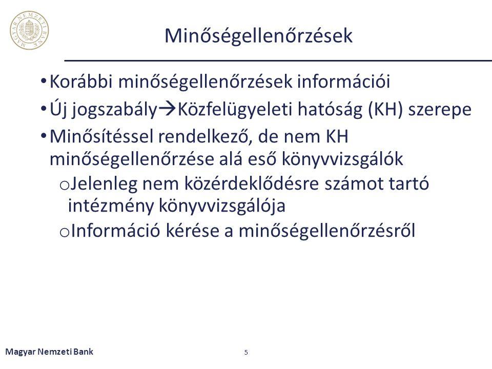 Minőségellenőrzések Korábbi minőségellenőrzések információi Új jogszabály  Közfelügyeleti hatóság (KH) szerepe Minősítéssel rendelkező, de nem KH minőségellenőrzése alá eső könyvvizsgálók o Jelenleg nem közérdeklődésre számot tartó intézmény könyvvizsgálója o Információ kérése a minőségellenőrzésről Magyar Nemzeti Bank 5