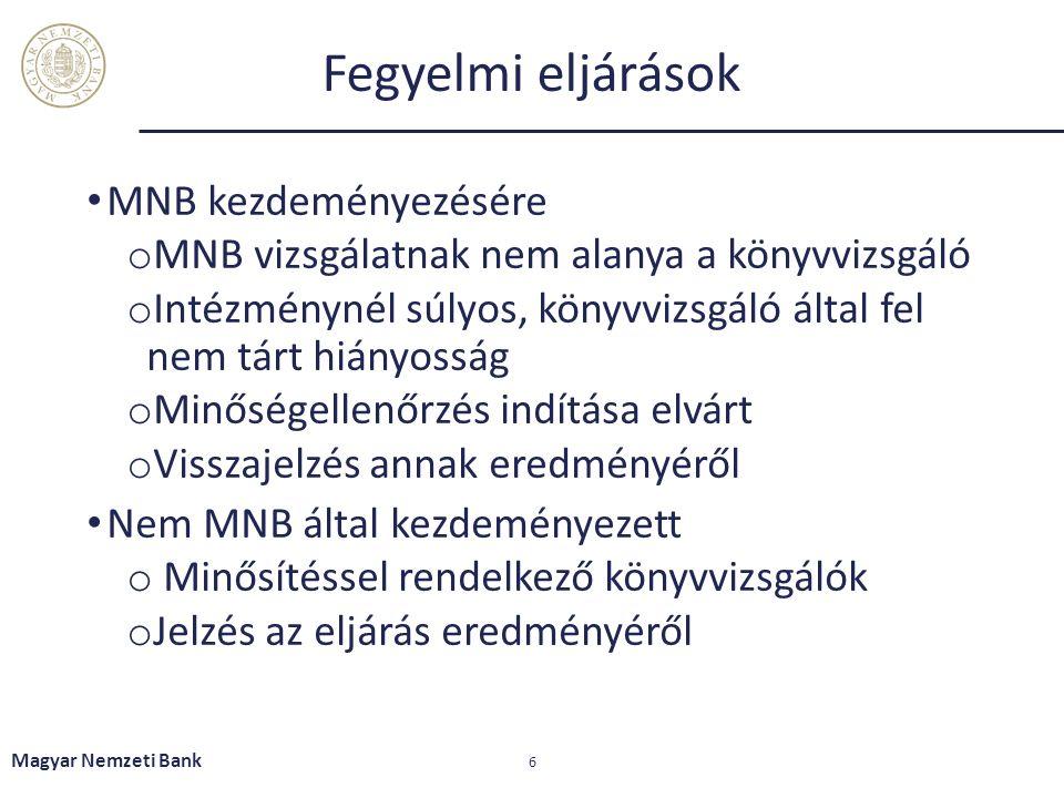 Fegyelmi eljárások MNB kezdeményezésére o MNB vizsgálatnak nem alanya a könyvvizsgáló o Intézménynél súlyos, könyvvizsgáló által fel nem tárt hiányosság o Minőségellenőrzés indítása elvárt o Visszajelzés annak eredményéről Nem MNB által kezdeményezett o Minősítéssel rendelkező könyvvizsgálók o Jelzés az eljárás eredményéről Magyar Nemzeti Bank 6