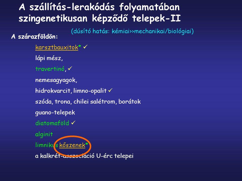 Tengerben: paralikus kőszenek* gipsz-anhidrit-kősó-kálisók (evaporitok) mészkő-, márga-, dolomit (építő és/vagy díszítőkő) oolitos Fe-ércek, -Mn-ércek foszforitok tűzkő szalagos-sávos vasércek (BIF) Mn-gumók/kérgek szingenetikus telepek (folyt.)