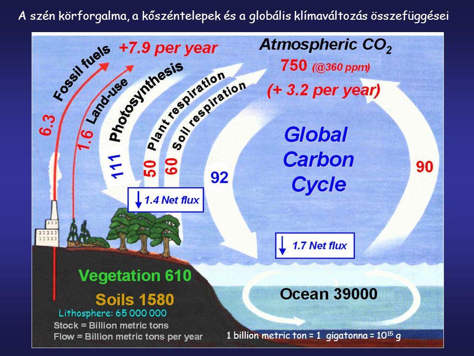 A szén körforgalma, a kőszéntelepek és a globális klímaváltozás összefüggései Lithosphere: 65 000 000 1 billion metric ton = 1 gigatonna = 10 15 g